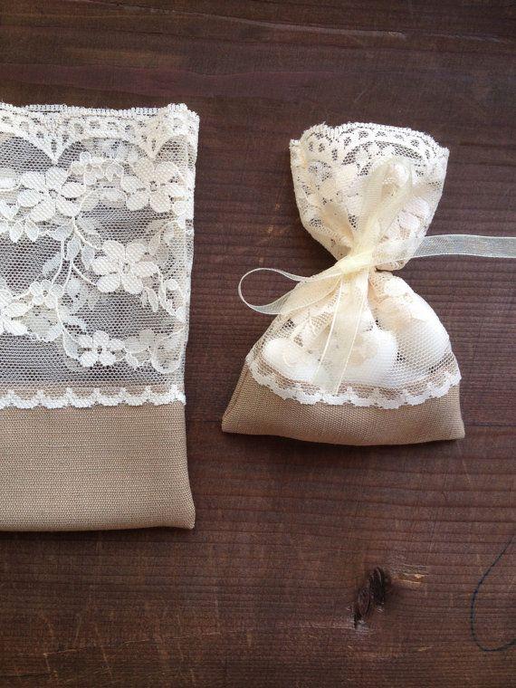 Recuerdos Matrimonio Rustico : Favore borse pizzo rustico matrimonio battesimo