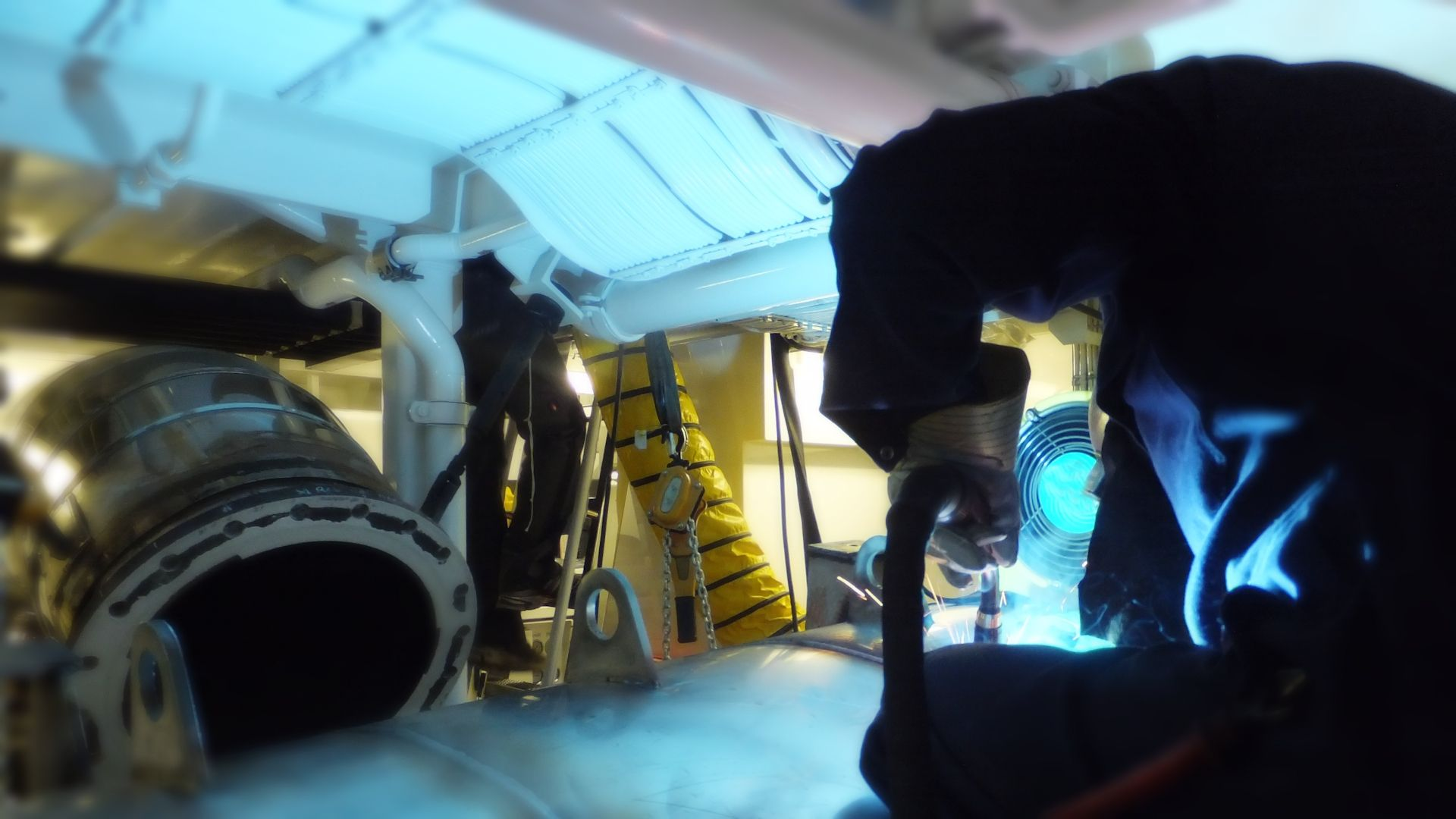 TIO yacht exhaust systems - on board refit welding in the USA