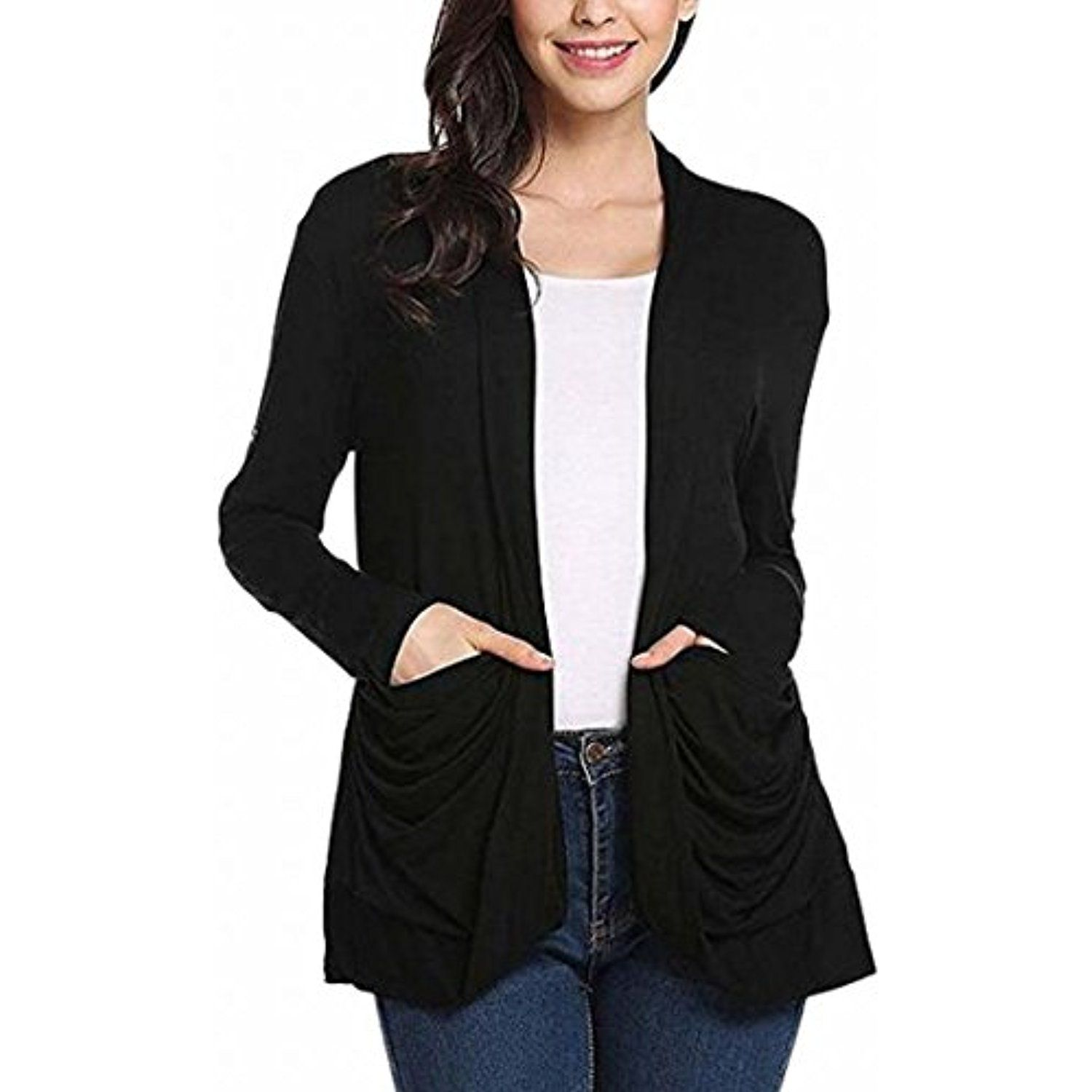 Women's Knitted Cardigan Roll Up Sleeve Open Front Cardigan Coat ...