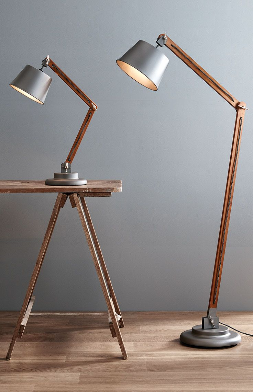 Nuvo Floor Lamp in MetalWalnut | Adjustable floor lamp