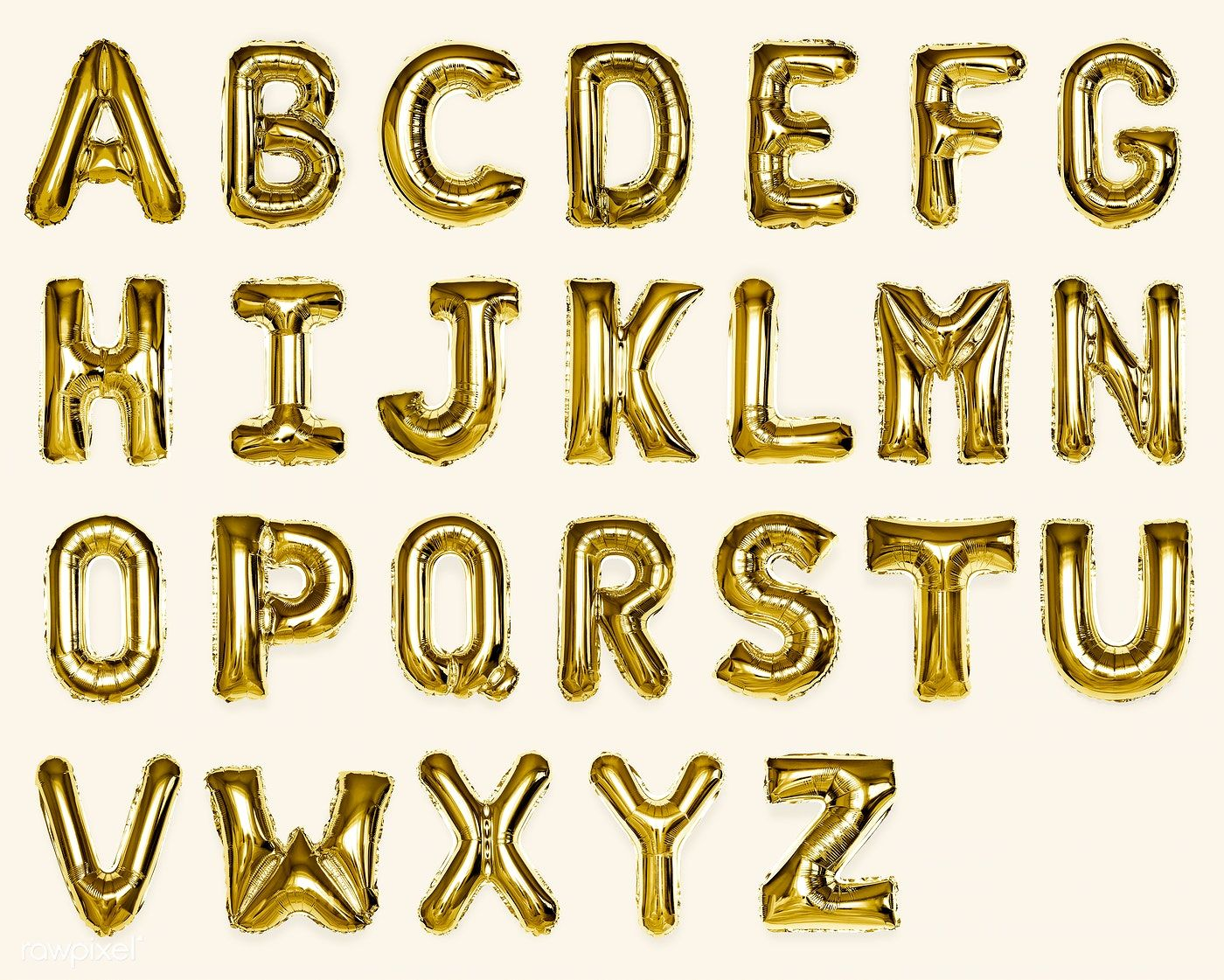 Set Of Gold Capital A Z Alphabet Balloons Free Image By Rawpixel Com In 2020 Balloons Numbers Typography Lettering Alphabet