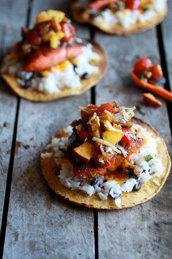 Caribbean Jerk Salmon Tostadas with Grilled Pineapple Peach Coconut Salsa. Mmm...perfect summer dinner on the patio!