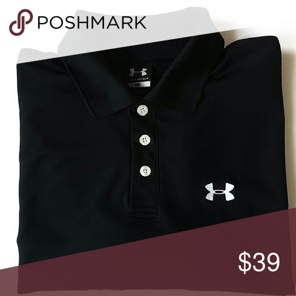 """Under Armour Polo Shirt Men's M Black Short Sleeve Condition - pre-owned; no stains, holes or other issues noted. Brand: Under Armour Men's Size: M / Medium Color: Black with White Logo Style # VCOF299 Pull On Styling with Three Button Front Polo Tab Collar Short Sleeves Square Hem with Notched/Vented Side Hems Polyester Blend Machine Wash  Measurements:   19"""" shoulder to shoulder 23"""" flat / 46"""" doubled - underarm to underarm 21"""" sleeve length - center of back collar, over to shoulder and…"""