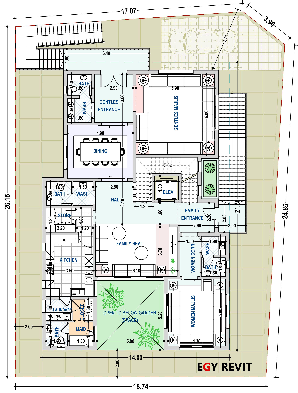 تصميم فيلا على جبل و دور تسوية New House Plans House Plans New Homes