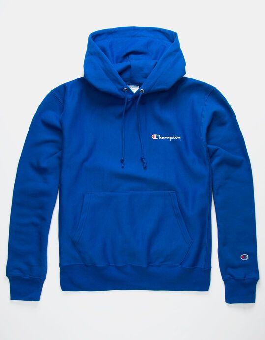 CHAMPION Embroidered Royal Blue Mens Hoodie - ROYAL - 348917215