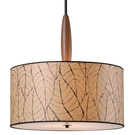 Illuminate your den or dining room in style with this eye-catching pendant, featuring a drum shade with a leaf pattern.Product: P...