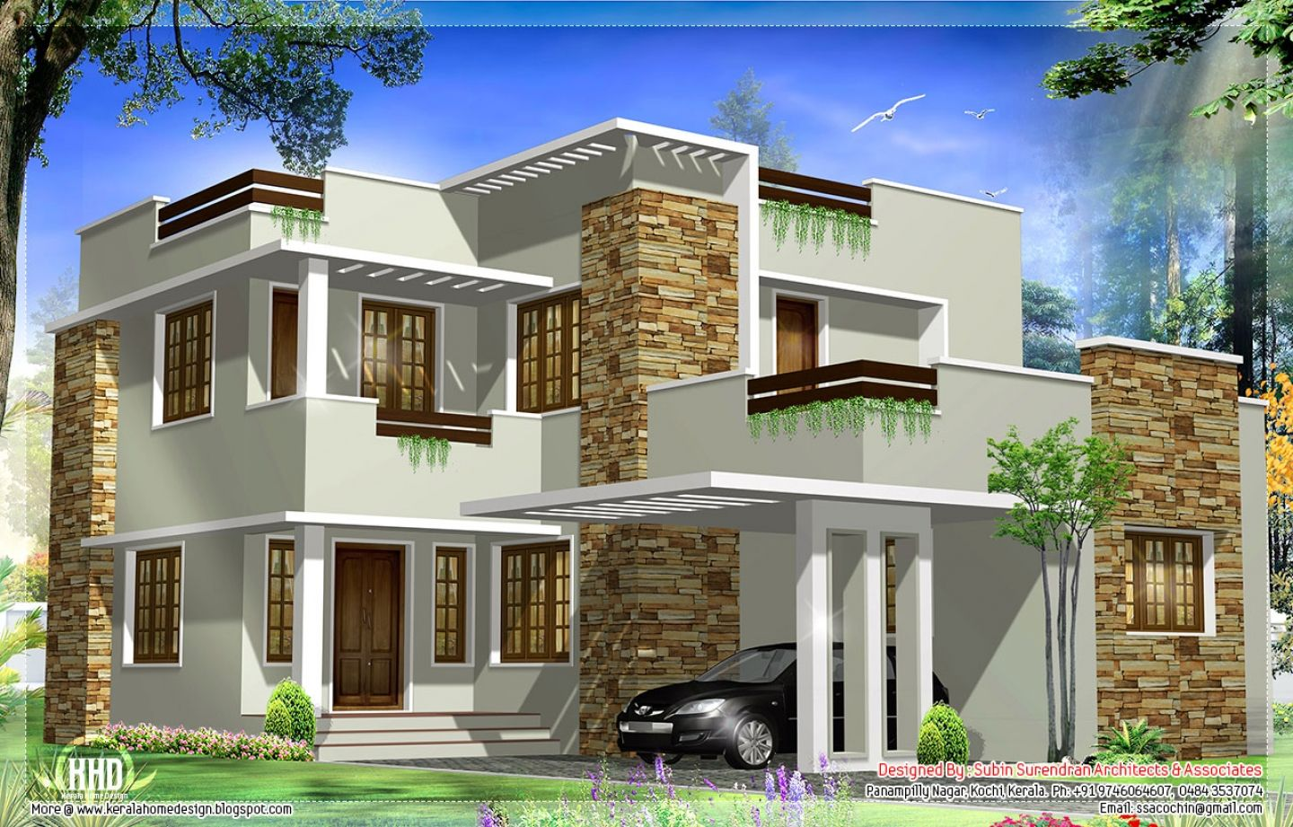 General square feet modern house elevation kerala home for Kerala style home designs and elevations