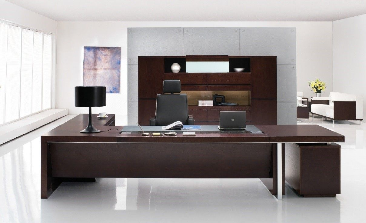 Furniture White Color Office Room Combine With Luxury Dark Brown Wooden  Executive Office Desks Choosing The Amazing Office Desks For Sale To  Complete Your ... Amazing Pictures