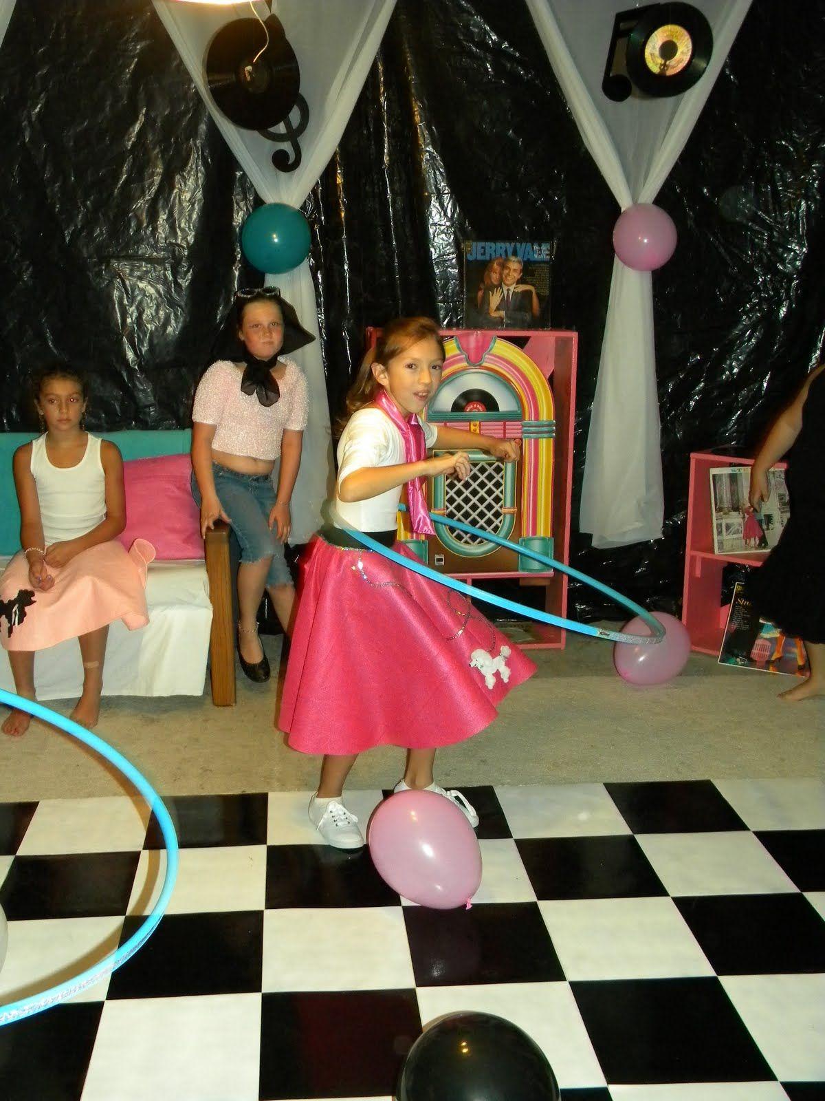Hula Hoop Contest Checkerboard Dance Floor Black