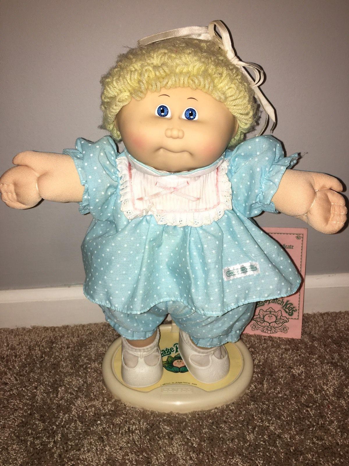 Vtg Coleco Cabbage Patch Kids Doll Girl Red Dress Blonde Hair Blue Eyes Ebay Vintage Cabbage Patch Dolls Cabbage Patch Babies Cabbage Patch Dolls