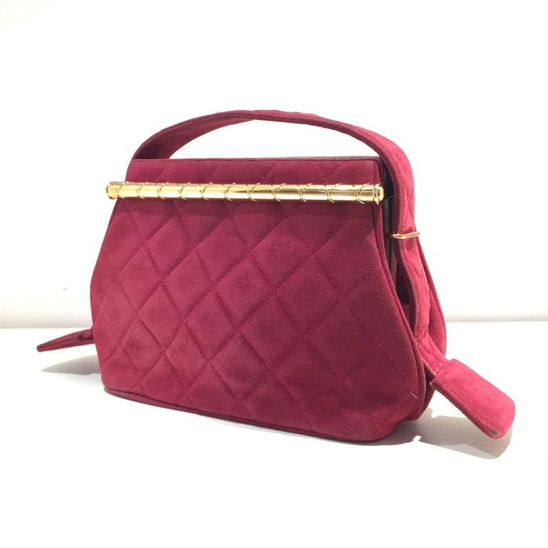 Chanel 1990s Quilted Red Suede Tote