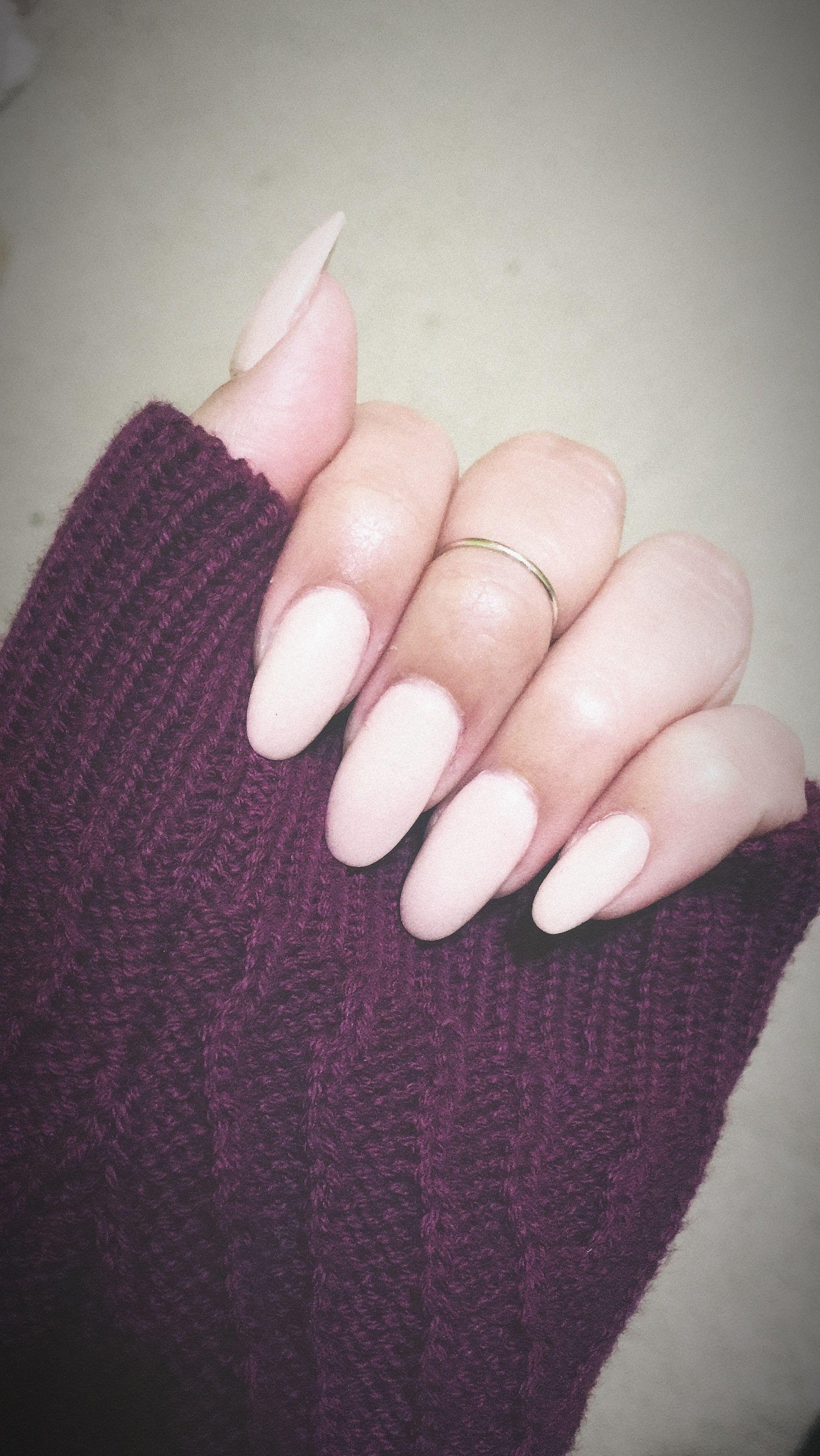 Nude Pink Almond Nail | fresh set w/ dipping powder. @ Diva Nails ...