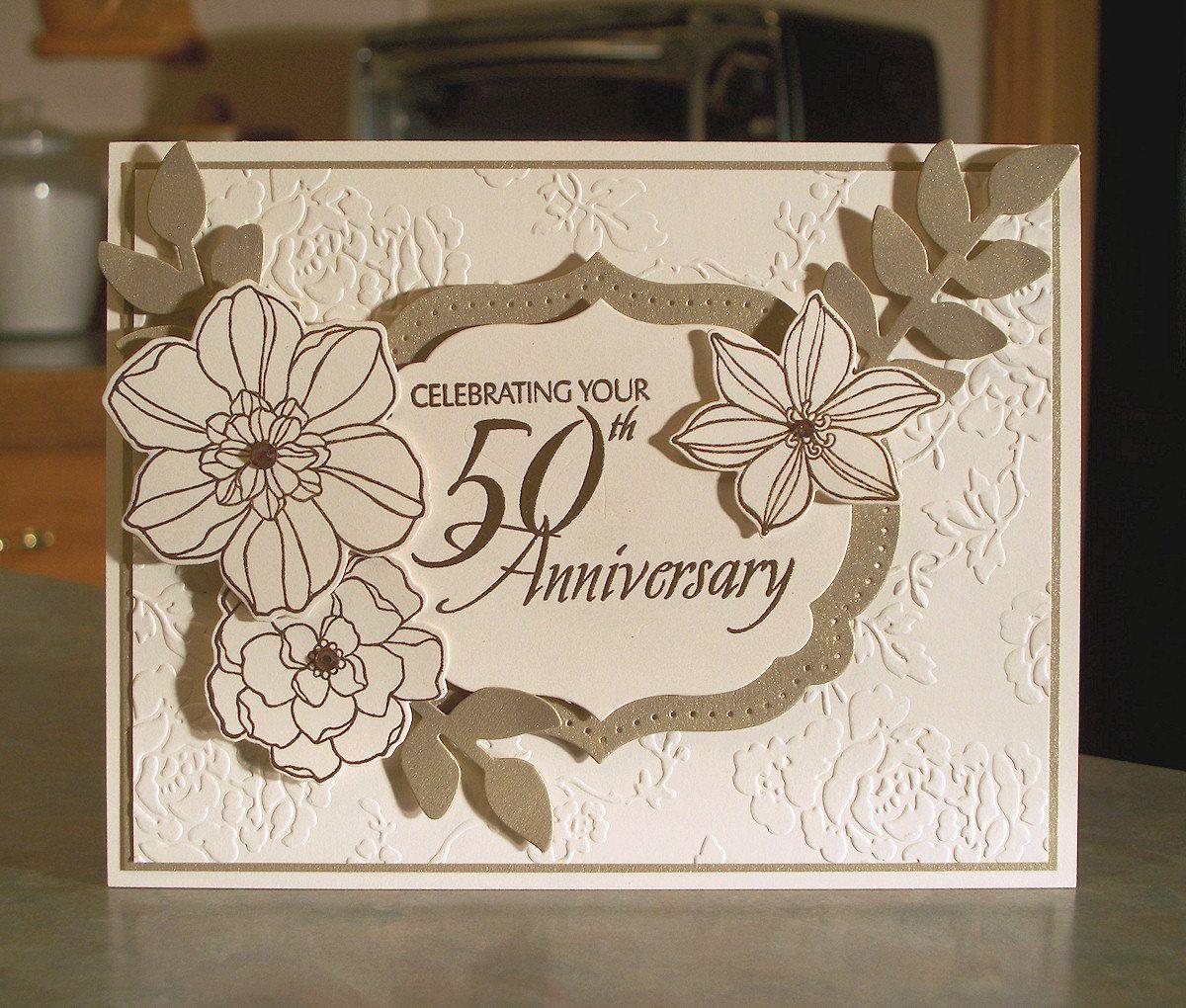 Handmade th golden anniversary card stampin up secret garden hand