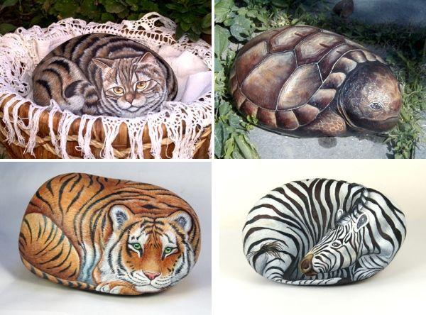 Piedras pintadas de animales proyectos que intentar for Pintura para pintar piedras