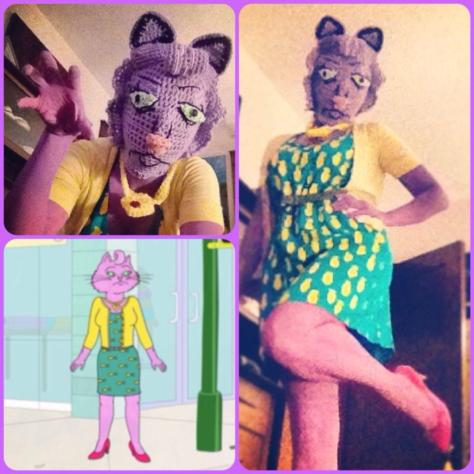 Princess Caroline costume from Bojack Horseman, crocheted