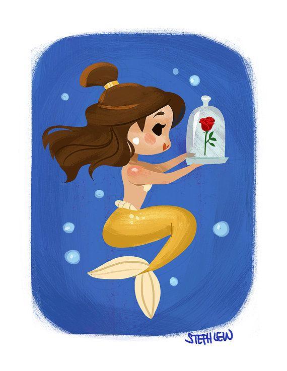 Rose Mermaid by StephLewArt on Etsy