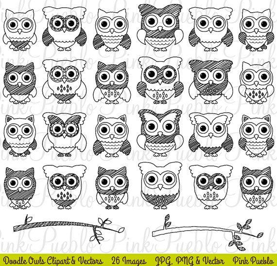 Cute Doodle Owl Clipart Clip Art Black And White Doodle Owl Etsy In 2021 Black And White Doodle Clip Art Cute Doodles