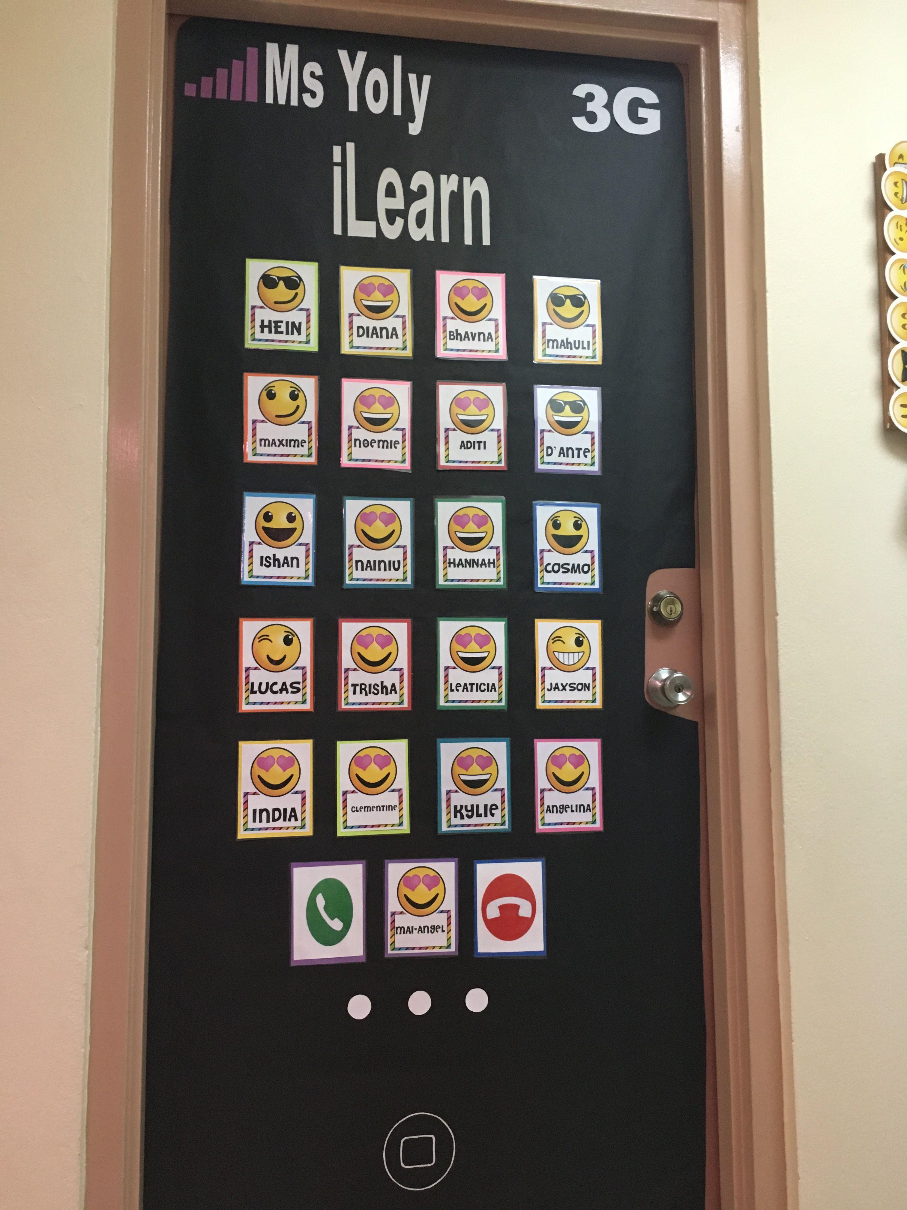 iPhone classroom door. Emoji themed Iphone classroom