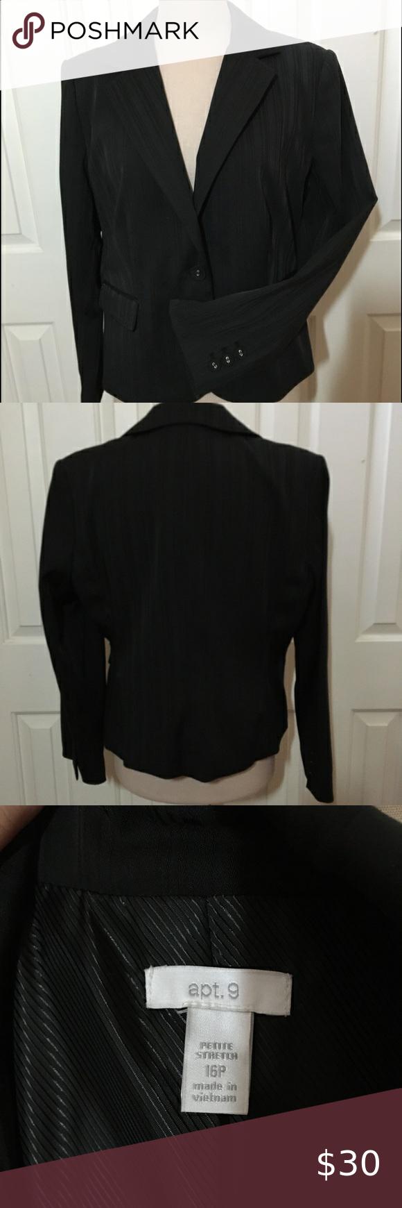 Apt 9 Women S Petite Suit Jacket Blk Sz 16p Petite Suits Military Inspired Jacket Clothes Design [ 1740 x 580 Pixel ]