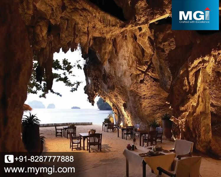 Day view of Rayavadi Krabi #palza, Thailand. It is made in krabi #cave, and at this place you can see the refreshing view of nature. would you like to dinner at that place. www.mymgi.com