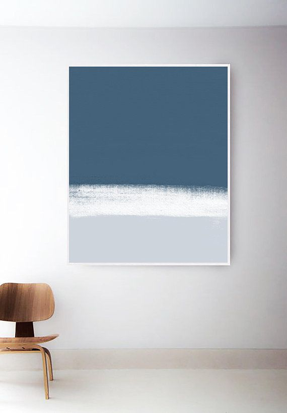 Abstract Blue and White Art Print. Blue Painting. Simple Blue Prints ...