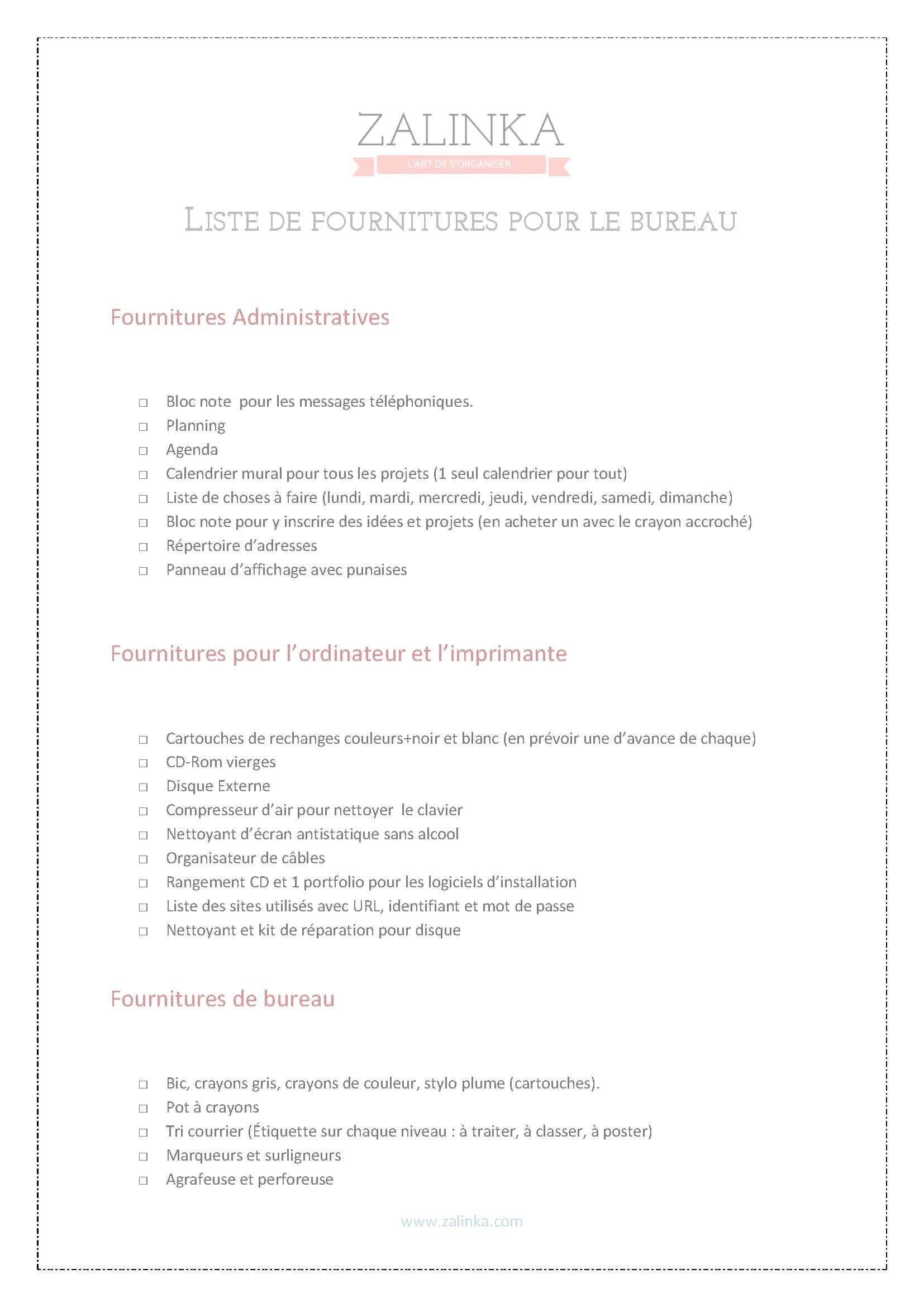 Liste Fourniture De Bureau