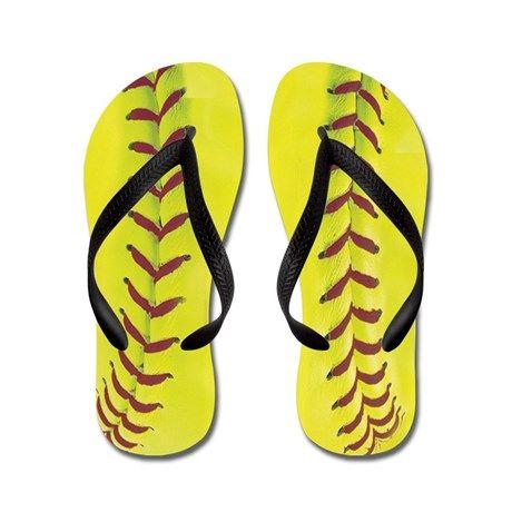 High-Visibility Yellow Softball Flip Flops on CafePress.com