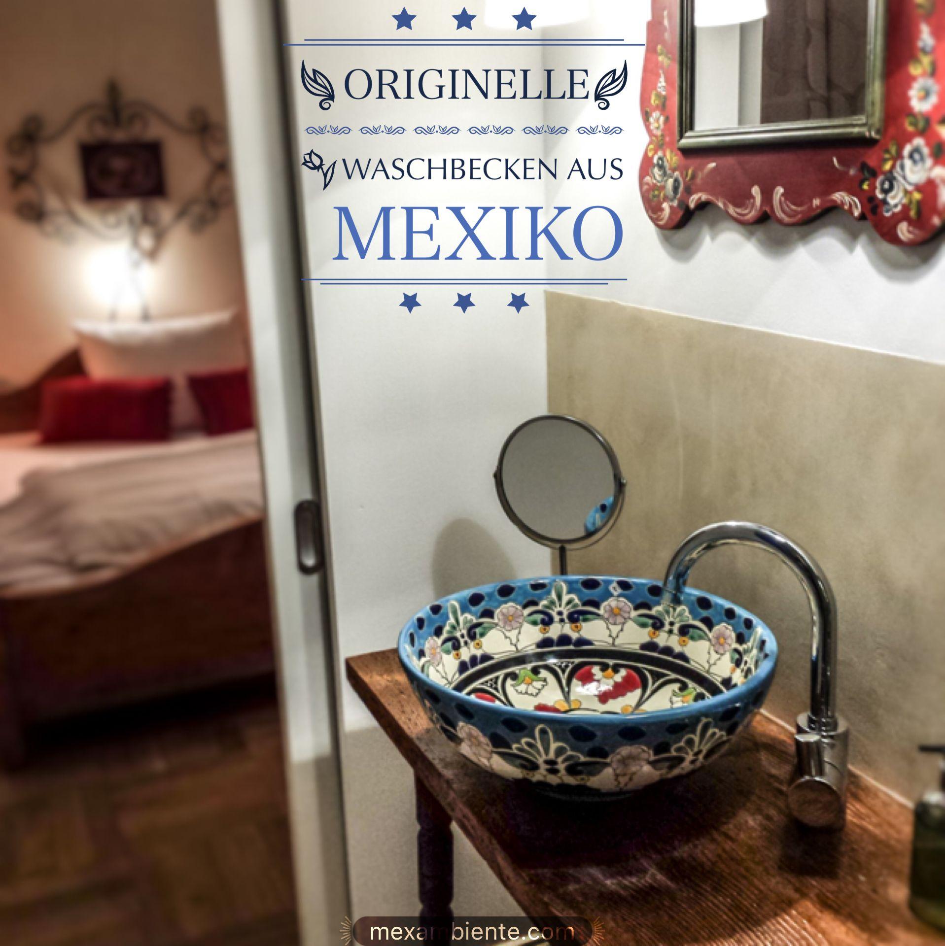 ethno stil badezimmer mit einem wundersch nen waschbecken von mexambiente ethno rustikal bunt. Black Bedroom Furniture Sets. Home Design Ideas