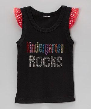 Another great find on #zulily! Black & Red 'Kindergarten Rocks' Angel-Sleeve Tank - Girls by Ready Set Sparkle Couture #zulilyfinds