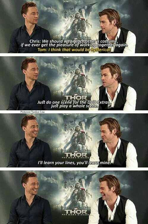 Lol Chris and Tom talking about wearing each others costumes