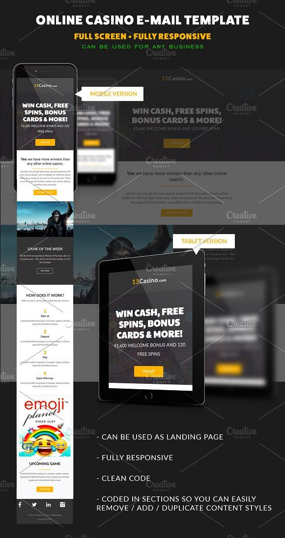 Casino E Mail Template Responsive By Cd On At Creativemarket Check