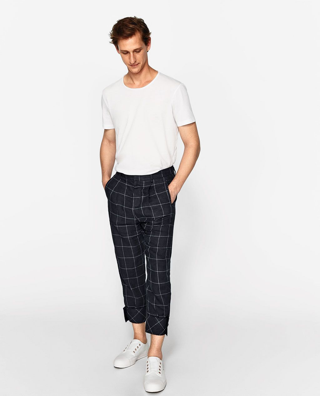 Zara flannel shirt mens  Image  of CHECKED STUDIO TROUSERS from Zara  Stylis  actions