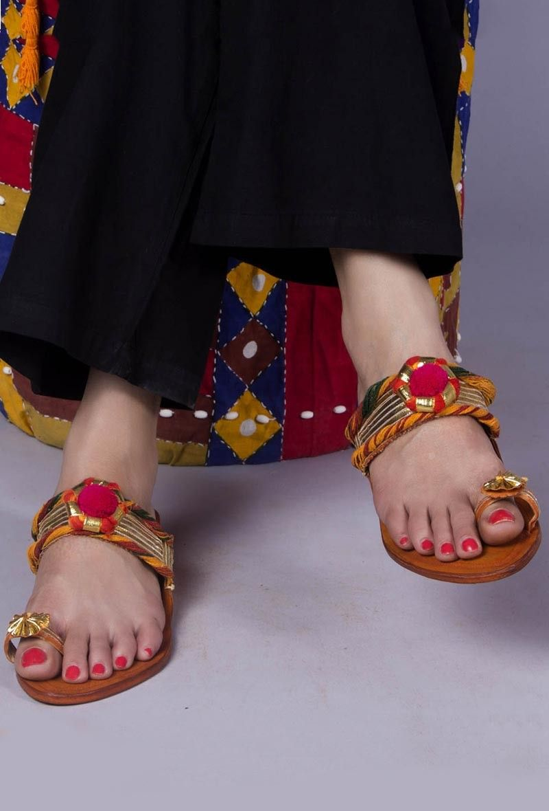64eb3454b43ea Genuine Leather Kolhapuri Chappal-Buy Gold Embellished Kolhapuri Chappal  for Women Online at Tjori