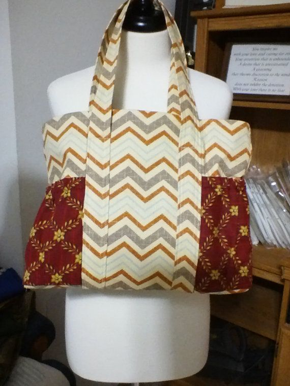 Beige Chevron Lined Tote Bag by UpInSeams on Etsy