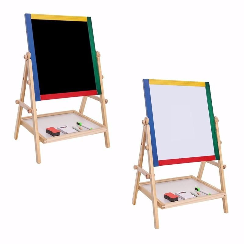 White Wooden Easel Chalk Drawing Board For Child New Kids 2 In 1 Black
