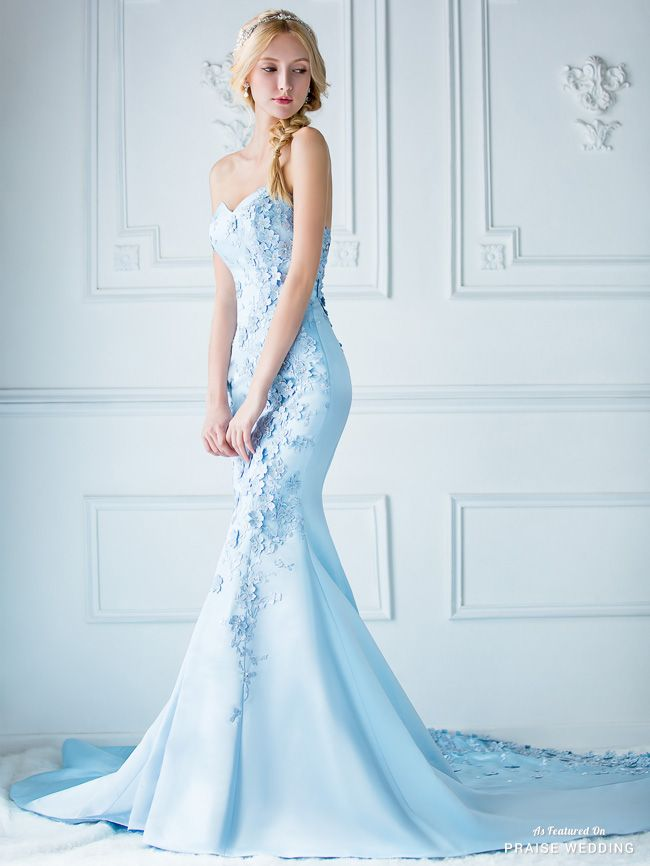 We Are Amazed By This Baby Blue Gown From Digio Bridal Featuring 3d Florals Delicately Blooming On A Fitted Classic Silhouette Mermaid Evening Dresses Baby Blue Wedding Dresses Evening Dresses