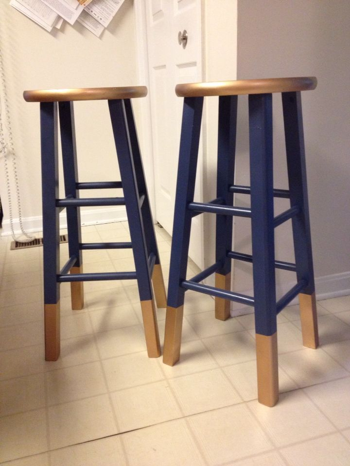 Bar Stools Purchased From Target Originally Natural Wood Finish Spray Painted With Krylon Oxford Blue Including Primer Sprayed Legs And Seat