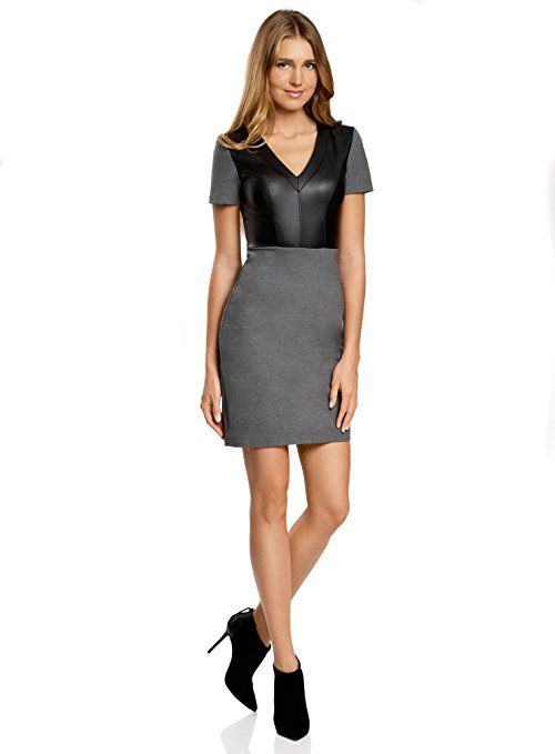 dc2d39049e oodji Ultra Damen Jersey-Kleid mit Lederimitat-Oberteil: - business  kleidung damen business
