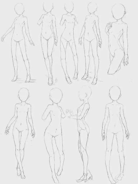 Anime Manga Girl Reference Drawing Base In 2020 Drawing Base Anime Drawings Tutorials Anime Poses Reference