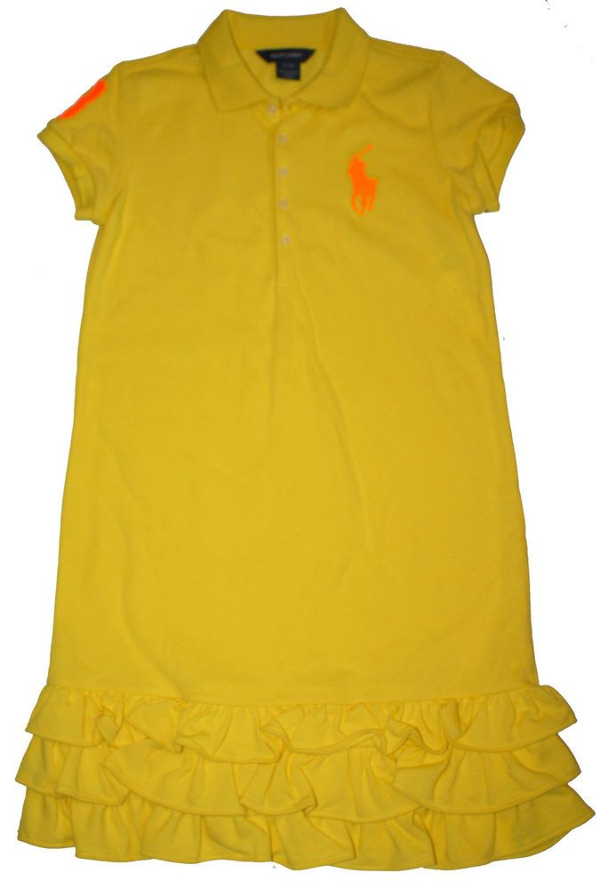 Kid clothing � NWT Ralph Lauren Girls Yellow Neon Big Pony Fluorescent Polo  Dress ...