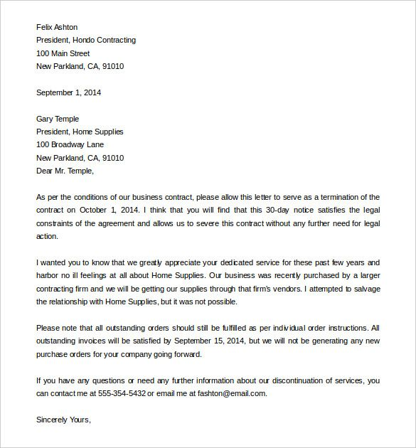 termination services letter templates free sample example - free termination letter template