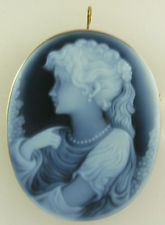 Cameo 50.8mm x 38.14mm Blue Agate Lady Pin and Pendant 14k Yellow Gold