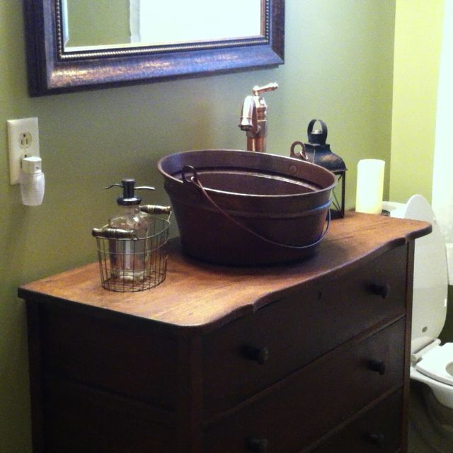 Antique dresser with copper bucket vessel sink ok where for Where can i buy a bathtub