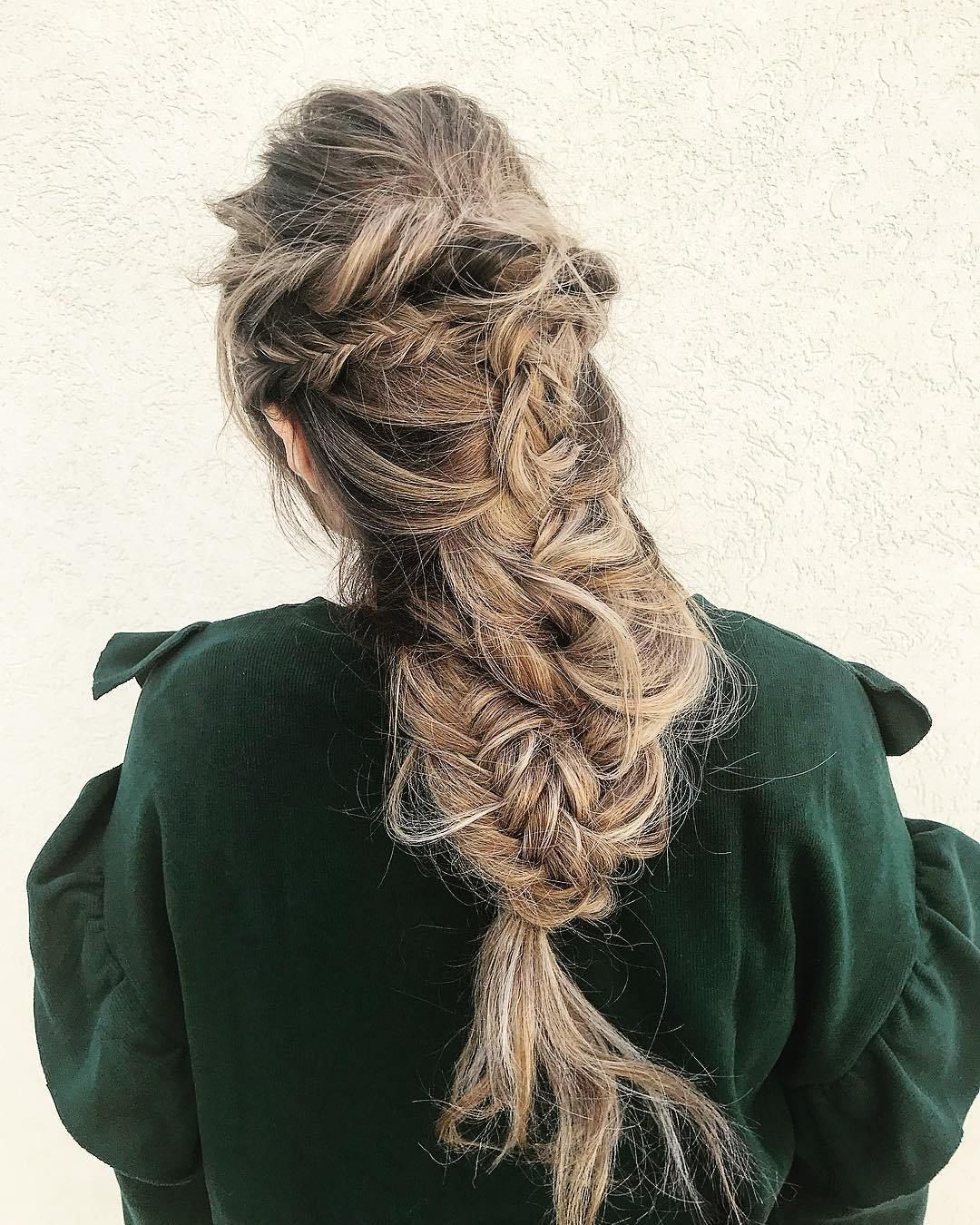 Pretty Fishtail and Loose braids hairstyle