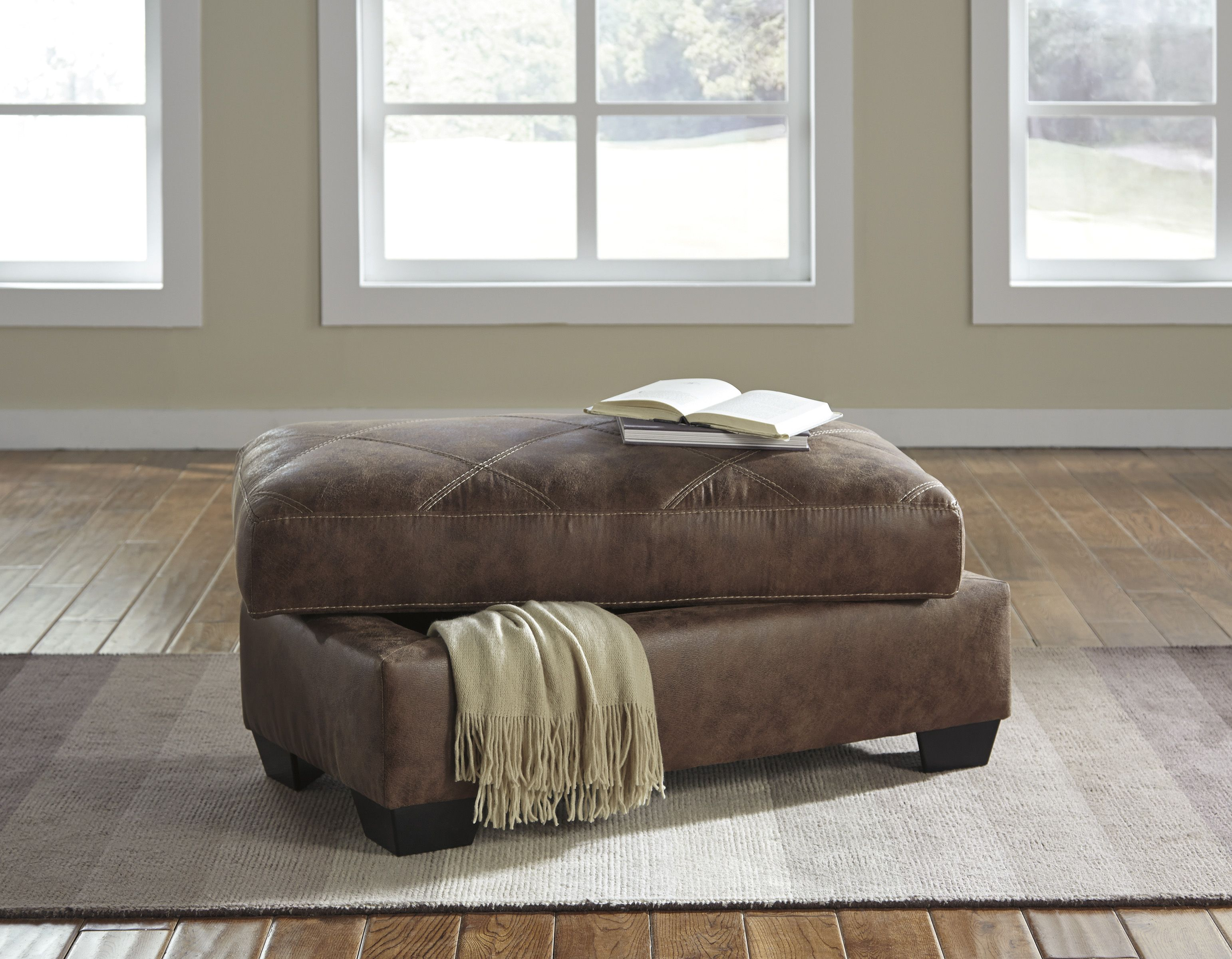 storage ottoman with leather looking fabric ottoman