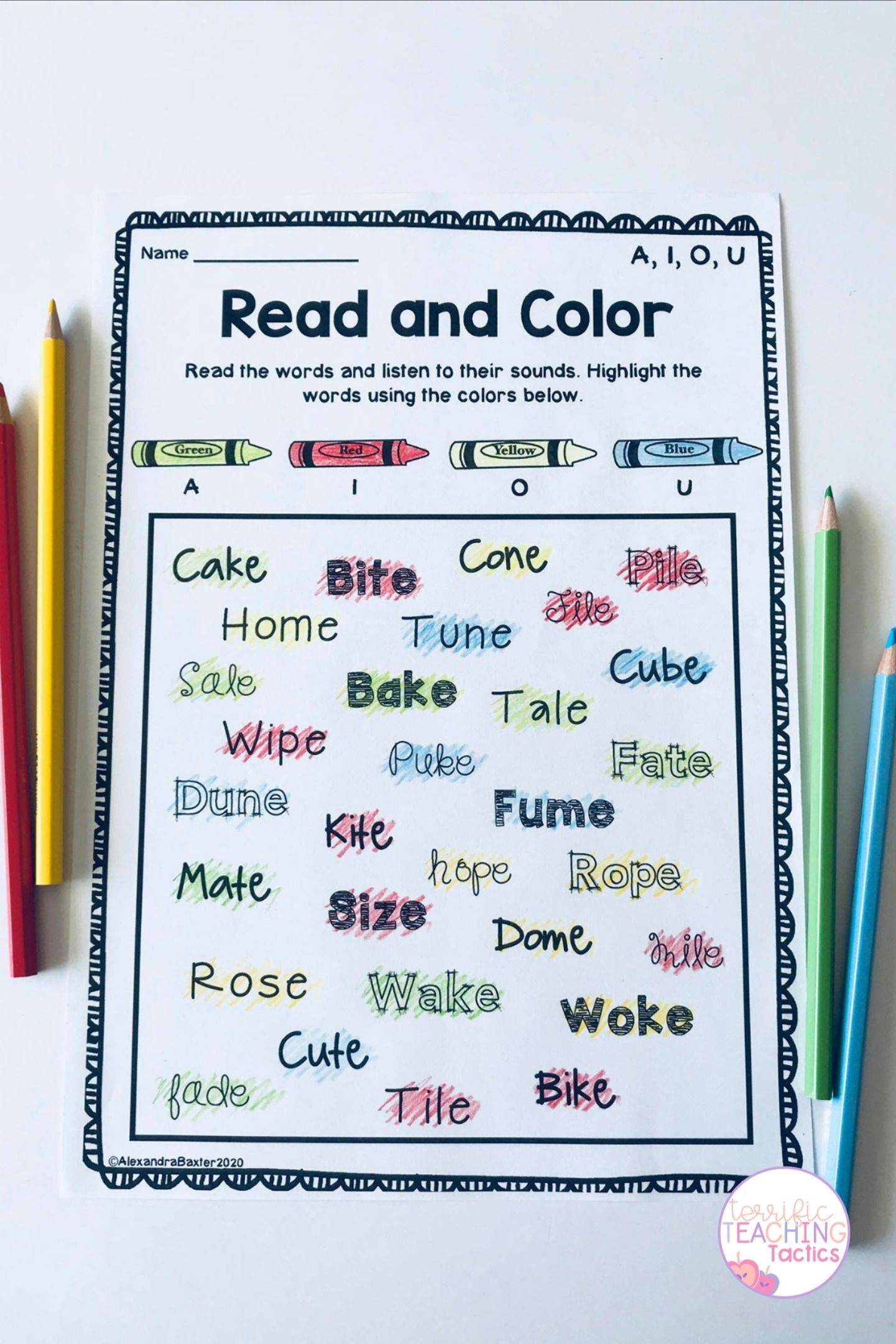 Long Vowel Worksheets A I O U In