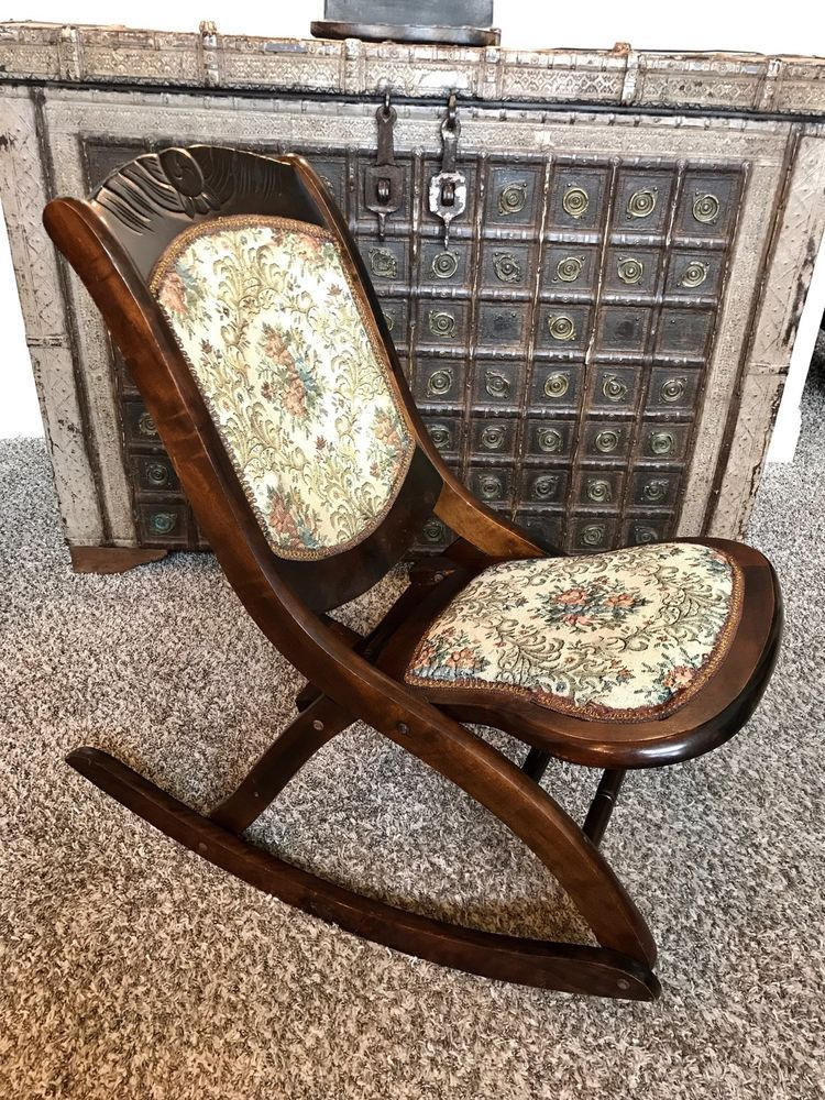 youth folding chair red and a half antique vintage victorian wood rocker rocking tapestry exc i bought one just like this today