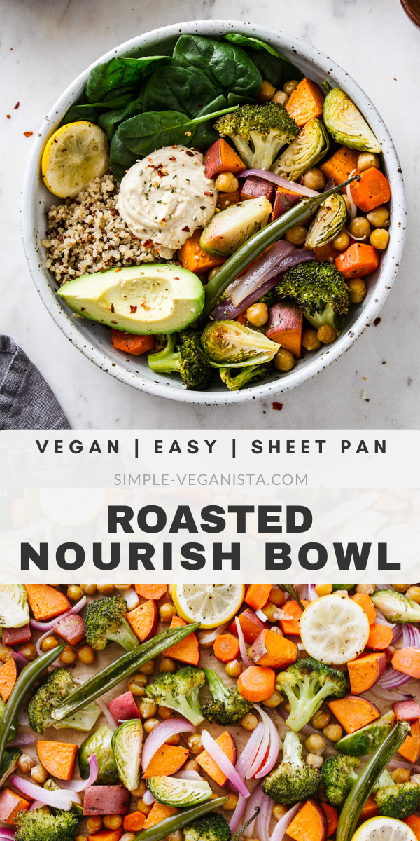 Keep warm and nourished with nutrient dense Roasted Nourish Bowls recipe, featuring sweet potatoes, brussels sprouts, chickpeas, fresh spinach, quinoa and avocado! It's easy to make and ready in under 1 hour. #nourishbowl #veganrecipes #sweetpotatoes #brussels #chickpeas