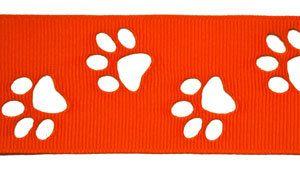 1.5 Orange tiger paw Cut Out Ribbon 10 yards via Etsy