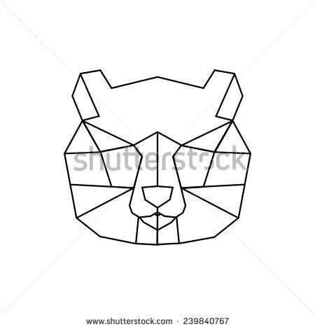 Vector color illustration with geometric panda of